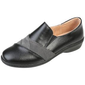 TOPWAY Comfort Damen-Leder-Slipper, schwarz