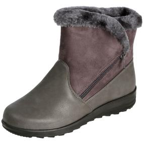NORWAY ORIGINALS Damen-Fell-Stiefeletten, grau