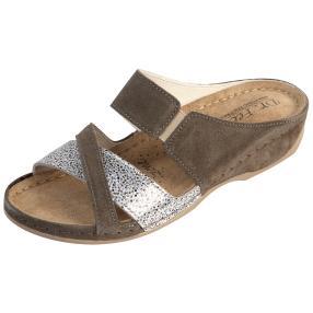 Dr. Feet Damen-Leder-Pantoletten, taupe