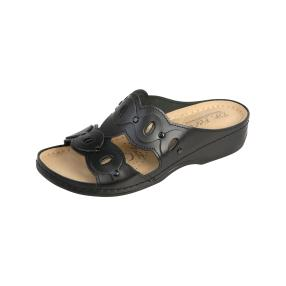 Dr. Feet Leder Damen-Pantoletten, schwarz