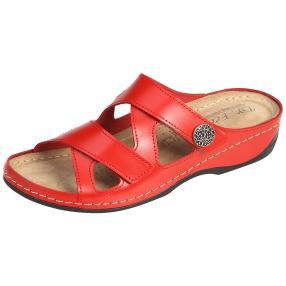 Dr. Feet Damen-Leder-Pantoletten, rot