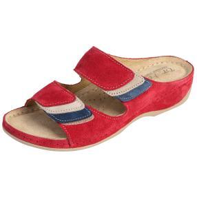 Dr. Feet Damen-Leder-Pantoletten, weinrot
