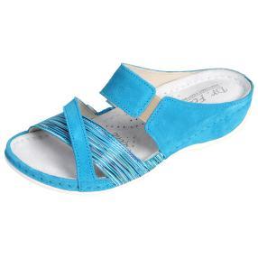 Dr. Feet Damen-Leder-Pantoletten, türkis