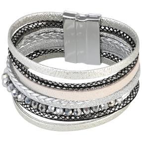 crystal blue Magnet Armband, silberfarben