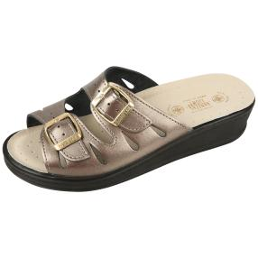 SANITAL LIGHT Damen-Leder-Pantolette, pewter
