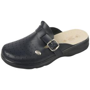 SANITAL LIGHT Herren Leder-Pantolette, navy