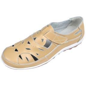 TOPWAY Leder Damen-Klettslipper, beige