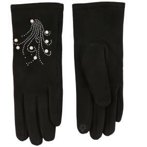 Schöne wärmende Handschuhe mit Kunstperlen und Str