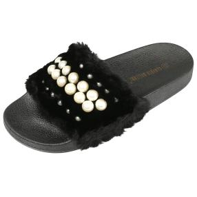 Damen-Sliders fake fur pearls, schwarz