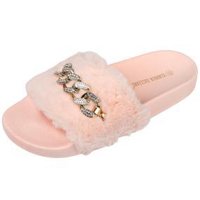 Sliders fake fur chain, rose Damen-Pantolette