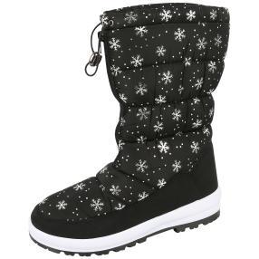 SNOWFUN Damen-Boots Schneeflocke, schwarz