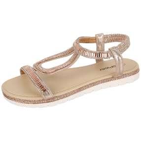 TOPWAY Damen Sandaletten Metallic, beige