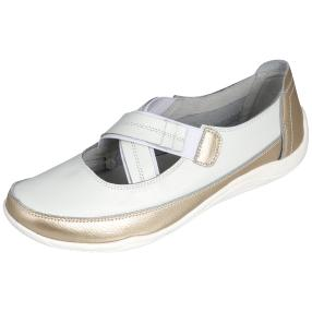 SANITAL LIGHT Damen Leder Slipper, weiß/gold