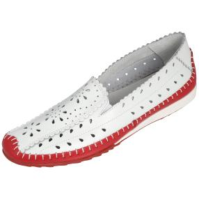 SANITAL LIGHT Damen Leder Slipper, weiß/rot