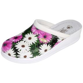 SANITAL LIGHT Damen Leder-Pantolette, floral