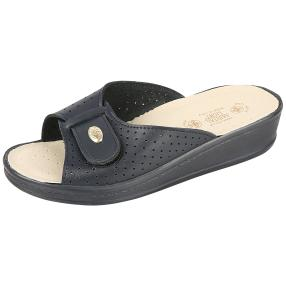 SANITAL LIGHT Leder-Pantolette, navy