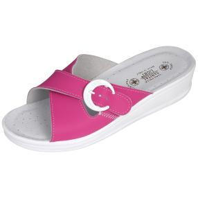 SANITAL LIGHT Damen Leder-Pantolette, fuchsia