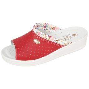 SANITAL LIGHT Leder-Pantolette, rot