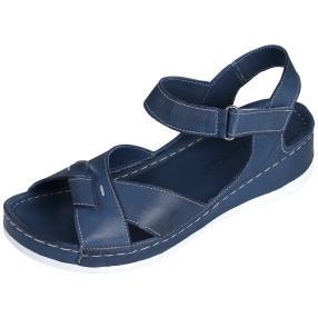 Andrea Conti Leder-Sandaletten, jeansblau