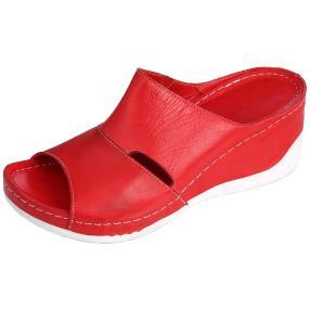 Andrea Conti Damen Leder-Pantoletten, rot