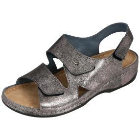 Dr. Feet Damen Leder-Sandaletten, pewter