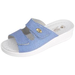 SANITAL LIGHT Damen Leder-Pantolette, blau