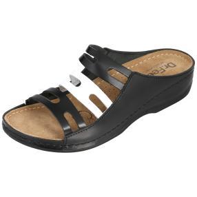 Dr. Feet Damen Leder-Pantolette, schwarz