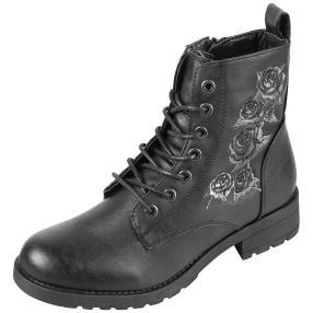 Damen Boots Flowers, schwarz/grau