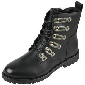 Damen Boots Schlaufen, schwarz/gold