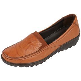 Dr. Feet Nappaleder Damen-Slipper, cognac crinkle