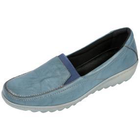Dr. Feet Nappaleder Damen- Slipper, petrol crinkle