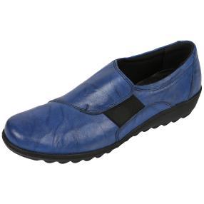 Dr. Feet Nappaleder Damen-Slipper, blau crinkle
