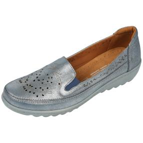 Dr. Feet Nappaleder Damen-Slipper, petrol metallic