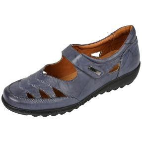 Dr. Feet Nappaleder Damen-Slipper, navy crinkle