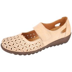 Dr. Feet Nappaleder Damen-Slipper, beige crinkle