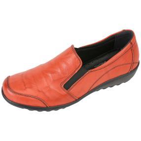 Dr. Feet Nappaleder Damen-Slipper, rot crinkle