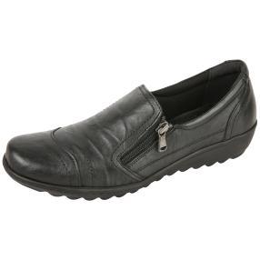 Dr. Feet Nappaleder Damen-Slipper, schwarz crinkle