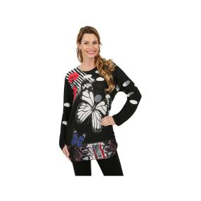 "Damen-Pullover ""Les Papillons"" schwarz/bunt"