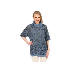 """Damen-Shirt """"Ava"""" mit passendem Tuch in blau"""