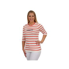 """Lovely Colours Damen-Pullover """"Happy"""", rot/weiß"""