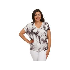 Damen Tunika mit Fledermausärmeln schwarz/weiß