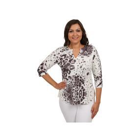 Damen Tunika mit V-Ausschnitt schwarz/weiß