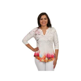 Damen Tunika mit V-Ausschnitt Blumenprint