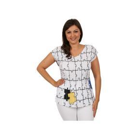 "Jeannie Damen-Plissee-Shirt ""Puzzle"""
