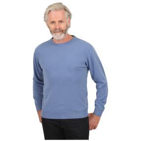Cashmerelike Herren-Pullover, Rundhals denimblau
