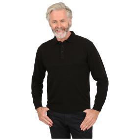 Cashmerelike Herren-Pullover, Polokragen schwarz