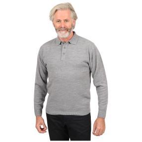 Cashmerelike Herren-Pullover, Polokragen grau