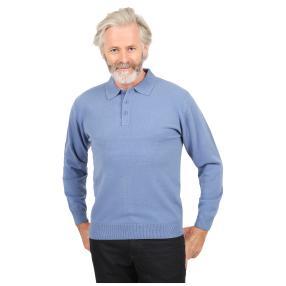 Cashmerelike Herren-Pullover, Polokragen denimblau