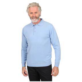 Cashmerelike Herren-Pullover, Polokragen hellblau