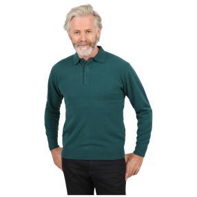 Cashmerelike Herren-Pullover,Polokragen dunkelgrün